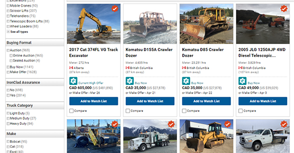 Selling heavy equipment and trucks online